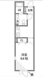 京王線 初台駅 徒歩9分の賃貸マンション 4階1Kの間取り