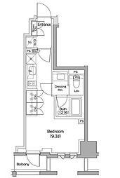 東急東横線 都立大学駅 徒歩11分の賃貸マンション 6階ワンルームの間取り
