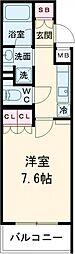 小田急小田原線 祖師ヶ谷大蔵駅 徒歩3分の賃貸マンション 2階1Kの間取り