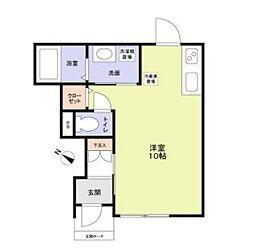 JR総武本線 新小岩駅 徒歩8分の賃貸アパート 1階ワンルームの間取り