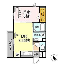 コスモ錦 1階1DKの間取り