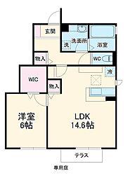 JR成田線 水郷駅 11.4kmの賃貸アパート 1階1LDKの間取り