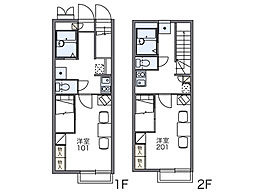 JR両毛線 新前橋駅 徒歩30分の賃貸アパート 2階1Kの間取り