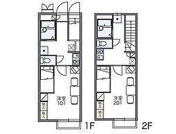 JR両毛線 前橋駅 徒歩20分の賃貸アパート 1階1Kの間取り