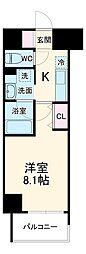 名古屋市営鶴舞線 丸の内駅 徒歩10分の賃貸マンション 6階1Kの間取り