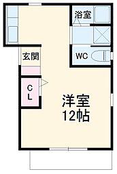 愛知環状鉄道 四郷駅 徒歩26分の賃貸アパート 2階ワンルームの間取り