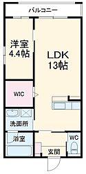 JR東海道本線 静岡駅 徒歩14分の賃貸マンション 1階1LDKの間取り