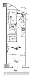 ザ・パークハビオ柿の木坂 3階1DKの間取り
