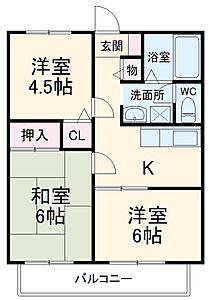 間取り,3K,面積45.36m2,賃料6.5万円,JR総武線 東船橋駅 徒歩11分,,千葉県船橋市東町