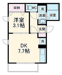 JR京浜東北・根岸線 北浦和駅 徒歩5分の賃貸アパート 1階1DKの間取り