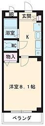 名古屋市営鶴舞線 植田駅 徒歩5分の賃貸マンション 1階1Kの間取り