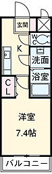 名古屋市営鶴舞線 植田駅 徒歩18分の賃貸マンション 3階1Kの間取り