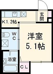 アーバンハウス新松戸 2階1Kの間取り