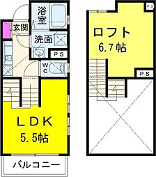 JR武蔵野線 新松戸駅 徒歩10分の賃貸アパート 1階1Kの間取り