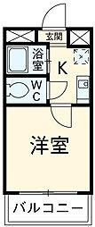 メユールOHMURA 1階1Kの間取り