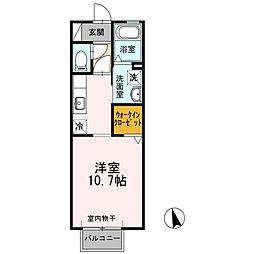 ハレクノ梶田 2階1Kの間取り