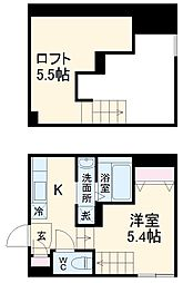 RIZEST TY新松戸II 2階ワンルームの間取り
