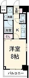 JR中央線 立川駅 徒歩6分の賃貸マンション 7階1Kの間取り