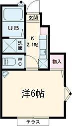 多摩都市モノレール 万願寺駅 徒歩5分の賃貸アパート 1階1Kの間取り