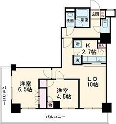 JR中央線 立川駅 徒歩5分の賃貸マンション 2階2LDKの間取り