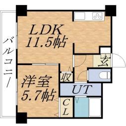 ティアラタワー中島倶楽部(I-IV) 20階1LDKの間取り
