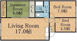 コスモロイヤル東苗穂B棟 5階3LDKの間取り