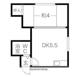 札幌市営東豊線 福住駅 バス11分 真栄下車 徒歩3分の賃貸アパート 2階1DKの間取り