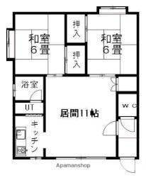 札幌市営東西線 新さっぽろ駅 徒歩16分の賃貸アパート 2階2LDKの間取り