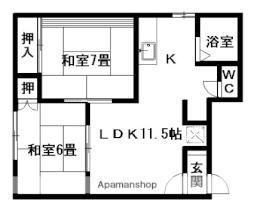 レジデンス上野幌B 1階2LDKの間取り