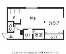 澄川レジデンス 3階ワンルームの間取り