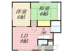 札幌市営南北線 南平岸駅 徒歩15分の賃貸アパート 2階2LDKの間取り