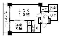 ティアラタワー中島倶楽部(I-IV) 22階1LDKの間取り