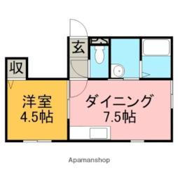 JR函館本線 銭函駅 徒歩14分の賃貸アパート 1階1DKの間取り