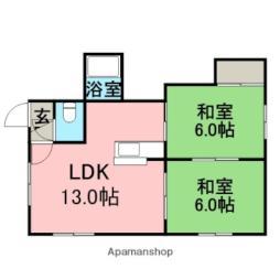 キャピタル花川III 2階2LDKの間取り