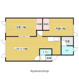 JR函館本線 岩見沢駅 徒歩10分の賃貸アパート 2階2LDKの間取り
