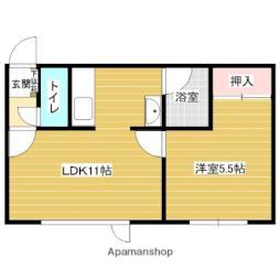 JR函館本線 岩見沢駅 徒歩14分の賃貸アパート 1階1LDKの間取り