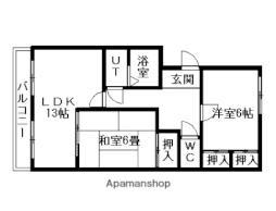 JR函館本線 森林公園駅 徒歩5分の賃貸マンション 1階2LDKの間取り