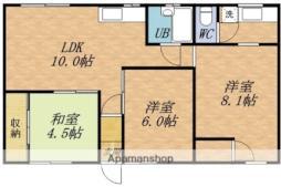 JR函館本線 蘭島駅 バス5分 大浜中下車 徒歩6分の賃貸アパート 1階3LDKの間取り