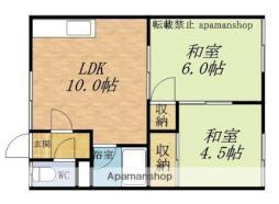 JR函館本線 小樽駅 バス5分 長橋十字街下車 徒歩13分の賃貸アパート 2階2LDKの間取り