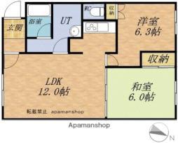 JR函館本線 小樽築港駅 バス4分 弥生通下車 徒歩5分の賃貸アパート 1階2LDKの間取り