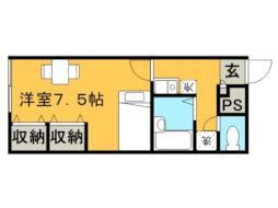 レオパレス花川 2階1Kの間取り