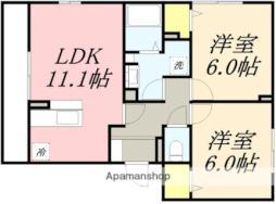 D−room湯川町 1階2LDKの間取り