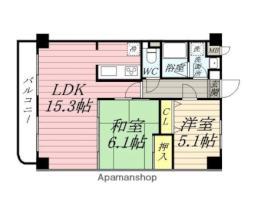 仙台市地下鉄東西線 薬師堂駅 徒歩34分の賃貸マンション 5階2LDKの間取り