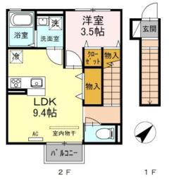 仙台市地下鉄東西線 八木山動物公園駅 3.1kmの賃貸アパート 2階1LDKの間取り