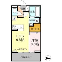 JR東北新幹線 郡山駅 バス20分 小原田五丁目下車 徒歩4分の賃貸アパート 2階1LDKの間取り