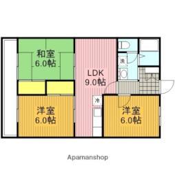 JR高崎線 宮原駅 徒歩5分の賃貸マンション 3階3DKの間取り