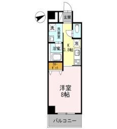 東武伊勢崎線 春日部駅 徒歩9分の賃貸マンション 4階1Kの間取り