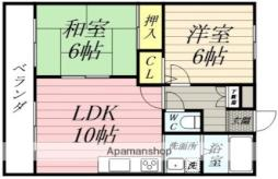 サンライトマンション 2階2LDKの間取り