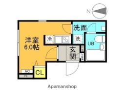 西武新宿線 井荻駅 徒歩7分の賃貸マンション 2階ワンルームの間取り
