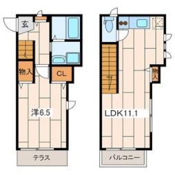 JR南武線 武蔵新城駅 徒歩9分の賃貸アパート 1階1LDKの間取り